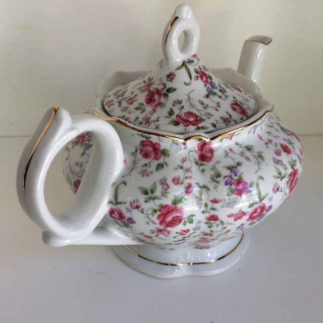 Traditional Vintage Rose Chintz Musical Tea Pot by Lefton For Sale - Image 3 of 13