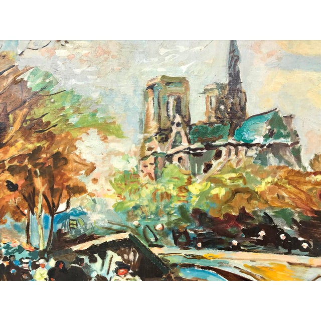 1960s Vintage Bridge, Street, Seine River - France Oil Painting For Sale In Los Angeles - Image 6 of 9