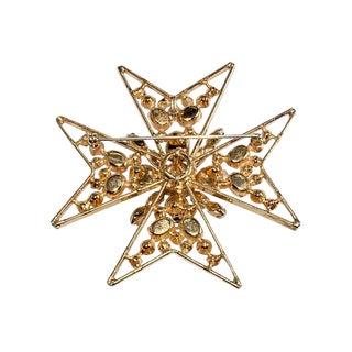 Schreiner Brooch Pin Maltese Cross Inverted Rhinestones Mop Cabochons Vintage For Sale