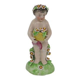 Antique French Porcelain Garden Cherub For Sale