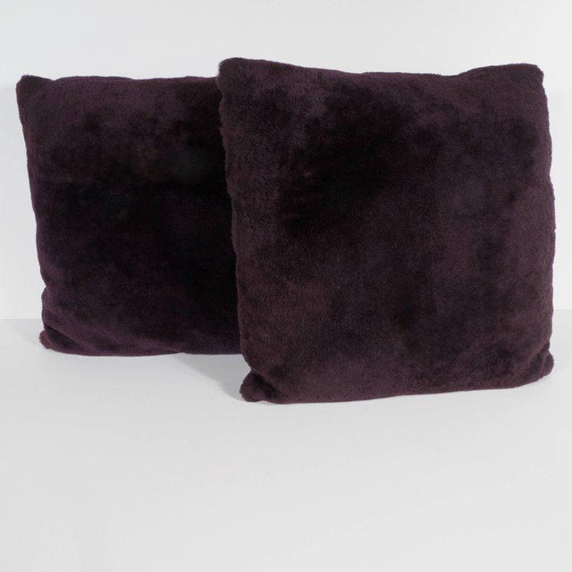 These stunning pillows have been upholstered in a luxe smoked amethyst mohair and Loro Piana cashmere. Their austere form...