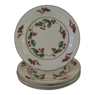 Set of Four Holly and Berries Round Dessert Plates For Sale