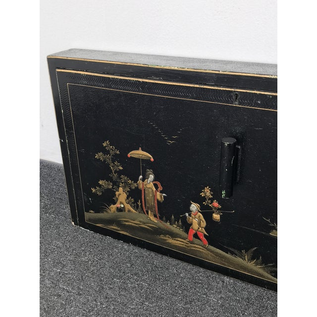 1920s Vintage Antique Asian Japanese Scriban Desk Wall Mounted For Sale - Image 5 of 13