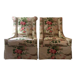 Occasional Chairs in a Scalamandre Chinoiserie For Sale