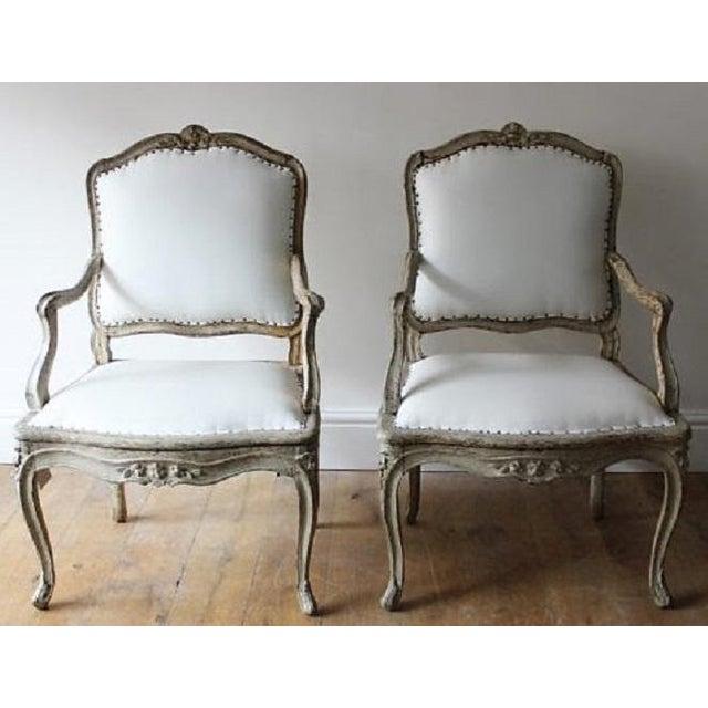 "Epoque 18th C Louis XV Armchairs. Original Paint Finish, Signed ""BLANCHARD"""