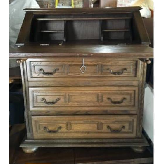 Vintage Roll Top Desk With Lock & Key - Image 3 of 7