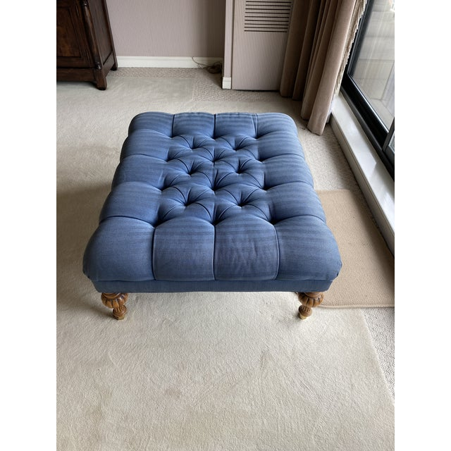 1990s Vintage Periwinkle Blue Robert Allen Upholstery Ottoman For Sale - Image 5 of 12