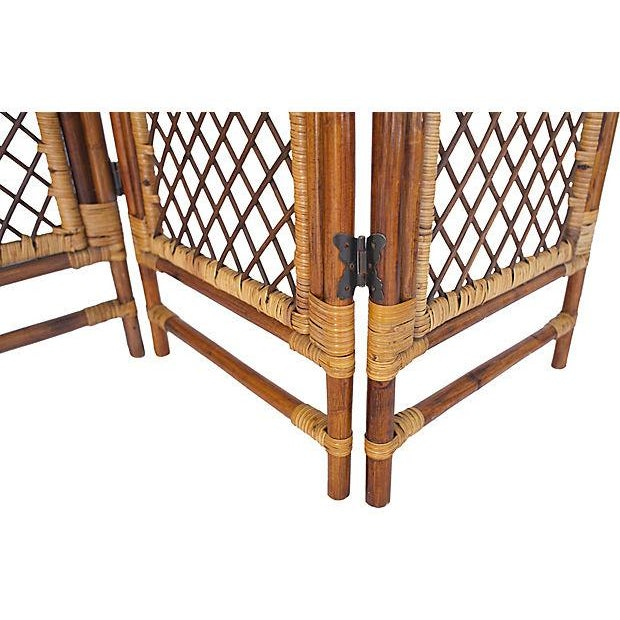 Hollywood Regency Bamboo Four Panel Room Screen For Sale - Image 3 of 4
