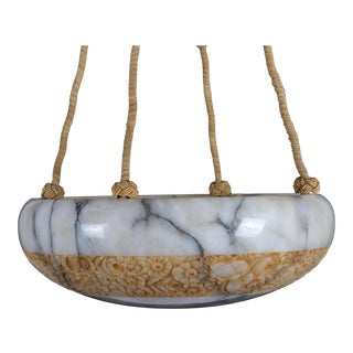 French Art Deco Alabaster Chandelier For Sale