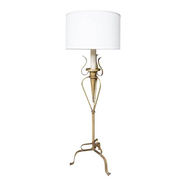 1950s Spanish Gilt Metal Floor Lamp For Sale
