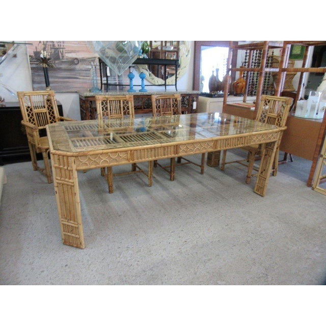 Bamboo & Seagrass Fretwork Dining Table - Image 3 of 11