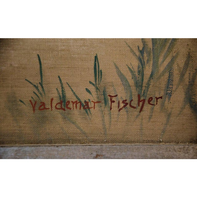 L. Valdemar Fischer Samurai Oil on Canvas Painting For Sale - Image 10 of 13