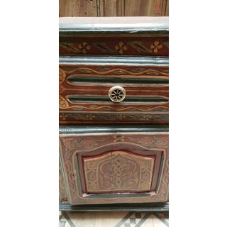1990s Moroccan Hand Painted Wooden Nightstand Preview