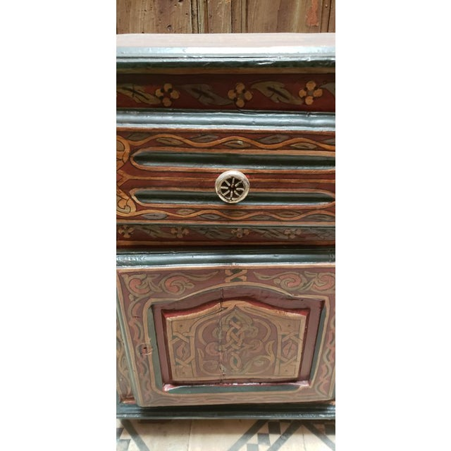 """Beautiful antique hand painted nightstand from Morocco, measuring approximately 24"""" in height, 17"""" in width, and 13"""" in..."""