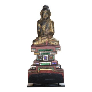 Tai Yai Carved Wood Seated Buddha Sculpture For Sale