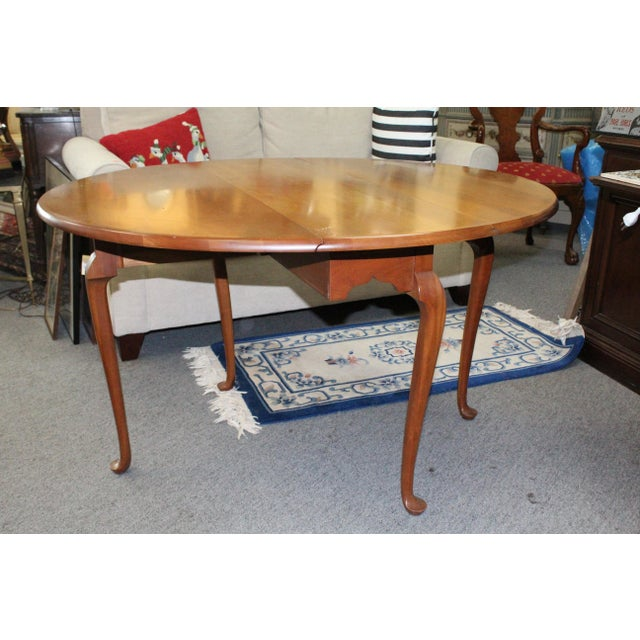 20th Century Traditional Light Cherry Drop Leaf Table For Sale - Image 4 of 7