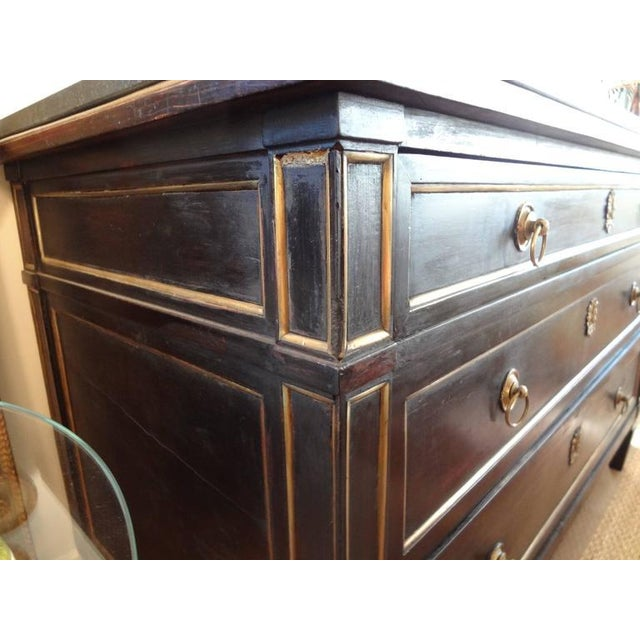 Late 18th Century 18th Century French Louis XVI Ebonized Commode With Bronze Detail For Sale - Image 5 of 8