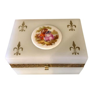 French Limoges Milk Glass Vanity Casket Box With Porcelain Plaque For Sale