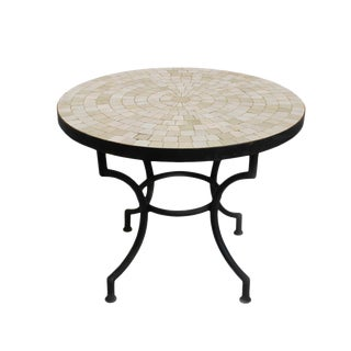 Traditional Round Mosaic Tile Side Table For Sale