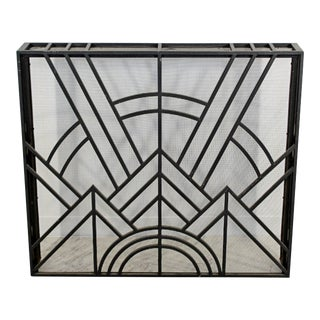 Neo Art Deco Wrought Iron Metal Fireplace Screen For Sale