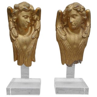 Pair of 19th C. Gilt Cherubs on Lucite Bases For Sale