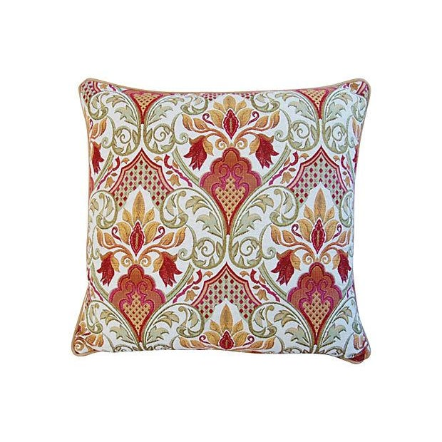 Large Custom French Embroidered Jacquard Pillow - Image 4 of 4