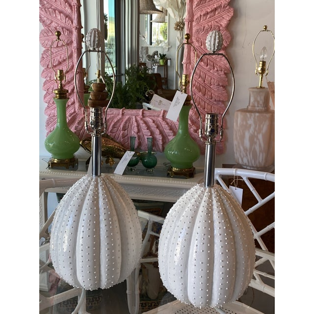 White Vintage White Sea Urchin Style Palm Beach Table Lamps Newly Restored -A Pair For Sale - Image 8 of 12