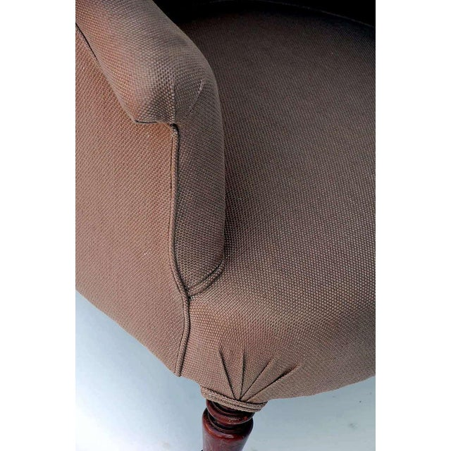 Mid 19th Century Turned Wood Leg Napoleon III Round Bergere For Sale - Image 5 of 7