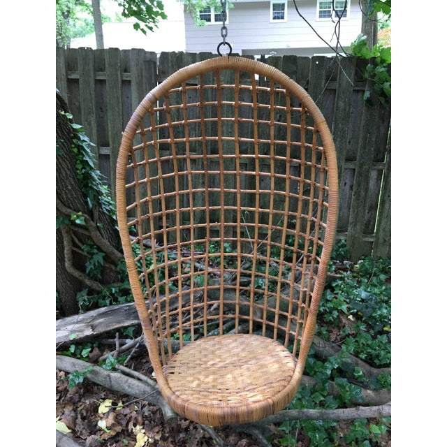 1970s Vintage Rattan Hanging Chair For Sale - Image 11 of 11