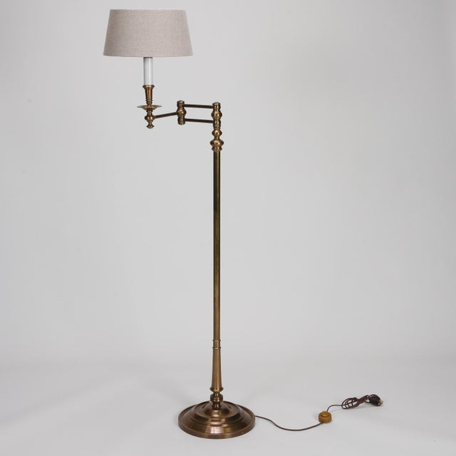 Gold English Brass Swing Arm Library Floor Lamp For Sale - Image 8 of 8