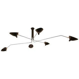 Serge Mouille Six Rotating Arms Ceiling Sconce Lamp