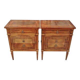 Italian Rosewood Inlaid Walnut Night Stand Commodes - a Pair For Sale