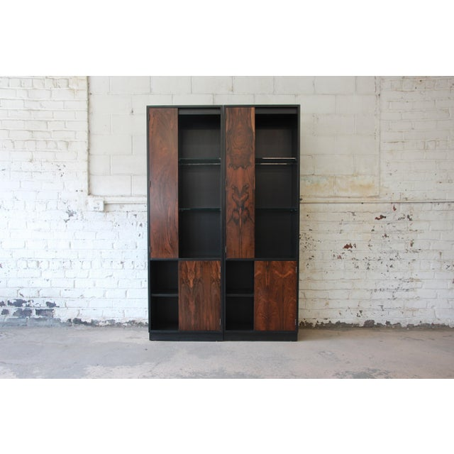 Harvey Probber Rosewood and Ebonized Wood Display Cabinets, Pair For Sale - Image 11 of 11