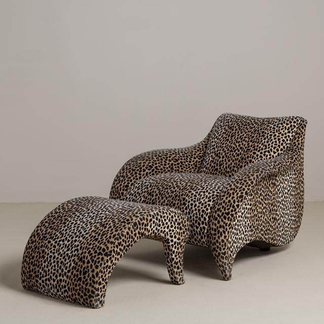 A Leopard Print Chair and Stool by Vladimir Kagan - Image 2 of 6