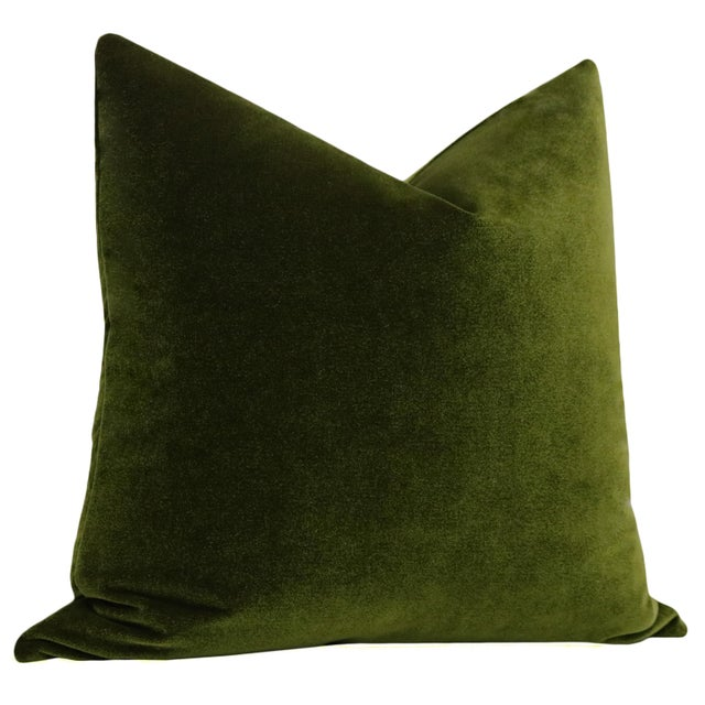 "Contemporary 22"" Olive Velvet Pillows - a Pair For Sale - Image 3 of 5"