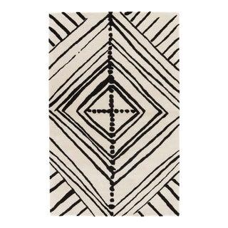 Nikki Chu by Jaipur Living Gemma Handmade Abstract White/ Black Area Rug - 8' X 10' For Sale