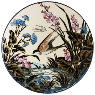 19th Century Aesthetic Movement Majolica Swallow Wall Platter