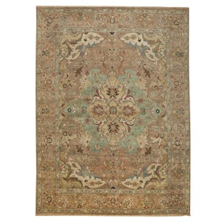 Traditional Indian Hand-Knotted Tan Wool Rug - 9' X 12' For Sale