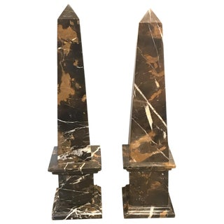 Early 20th Century Antique Portero Marble Obelisks - A Pair For Sale