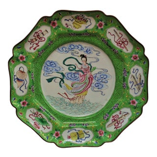 "Antique Chinese Export ""Maku Goddess of Eternal Youth"" Cloisonné Charger For Sale"