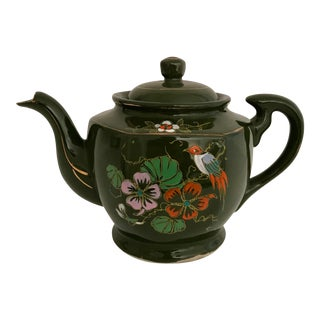Vintage Japanese Hand Painted Green Tea Pot For Sale