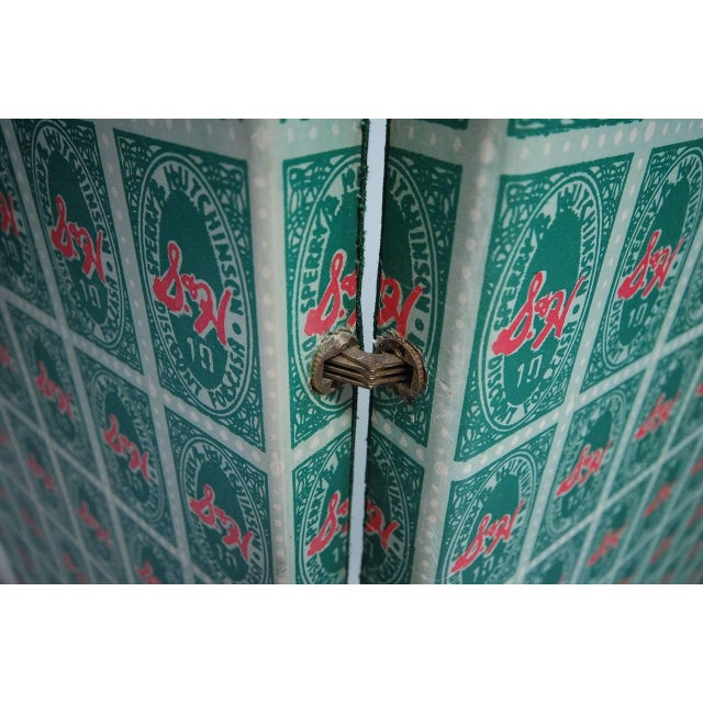 "Andy Warhol S&H Green stamps folding screen or room divider. Screen consists of three panels (2 @ 27.5"" and 1 @ 20"") held..."