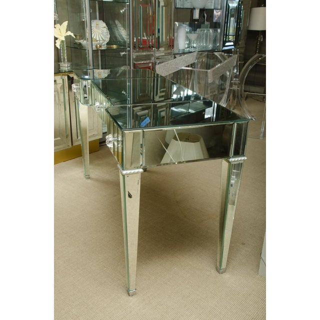 Silver Spectacular Mirrored 3-Drawer Vanity/Desk For Sale - Image 8 of 9