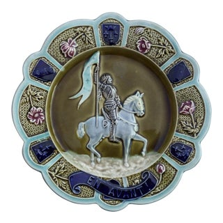 Majolica Joan of Arc Plate Circa 1880 For Sale