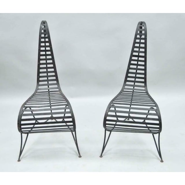 Black Vintage Whimsical Steel Iron Spine Lounge Chairs After André Dubreuil - A Pair For Sale - Image 8 of 10