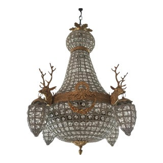 Brass and Crystal Chandeliers With Stag Detail - a Pair For Sale