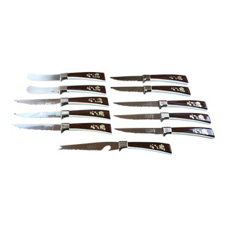 Vintage Sheffield Stainless Knife Set Flower Vine Design -Set of 11 For Sale