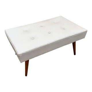 Vintage Mid Century White Tufted Bench For Sale