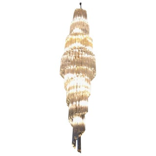 Camer Mid-Century Italian Murano Spiral Glass Chandelier For Sale