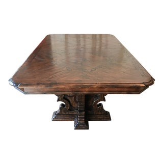 Vintage Farmhouse 2-Leaf Dining Table For Sale